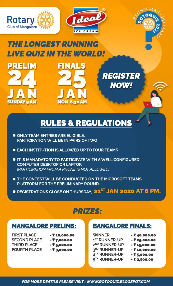 ROTOQUIZ 2021 on Mangalore Prelims on – Sunday 24 January 2021