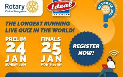 ROTOQUIZ 2021 on Mangalore Prelims on – Sunday 24 January 2021