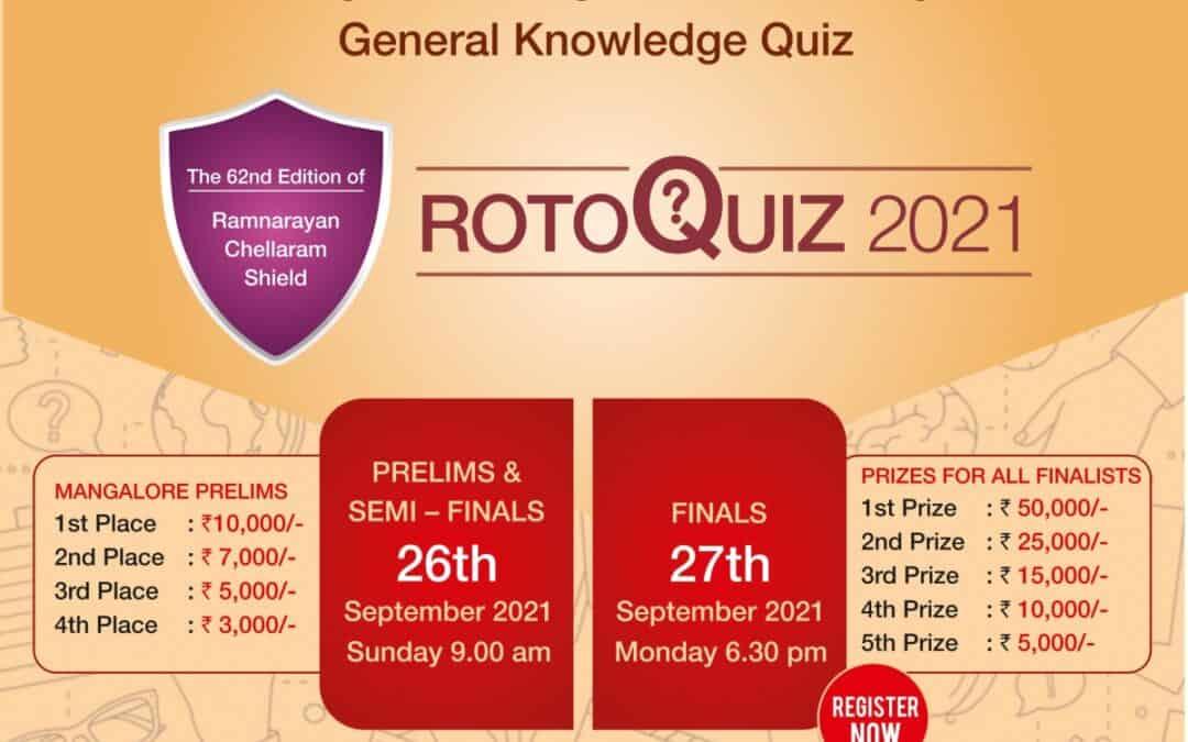 ROTOQUIZ 2021 on Prelims  & Semi Finals on – Sunday 26th September 2021 & Finals on Monday 27th September 2021